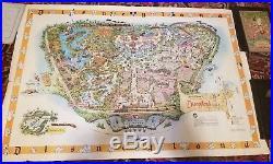 RARE ROLLED 1958C Walt Disney's DISNEYLAND USA MAP Theme Park Souvenir30 X 45