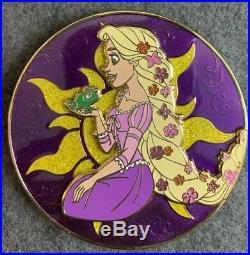 Rapunzel Pascal Disney Fantasy Pin LE 40/100 HTF Glitter Sun Round Jumbo Tangled