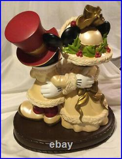 Rare Large Mickey & Minnie Carolers By Disney Theme Parks Victorian Christmas