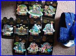 Rare New Disneyland Retro 50th Anniversary Pin Set-10 Pins-can-lanyard-backpack