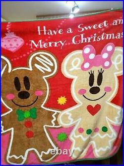 Tokyo Disney Christmas BIG Size Blanket Gingerbread Mickey Minnie 2010 Rare