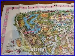 VINTAGE 1961 Disneyland Aerial Map Magic Kingdom Disney Theme Park