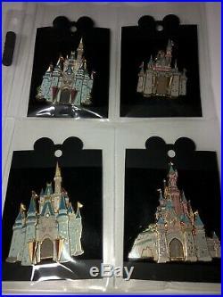 Very Rare! Disney Cast Member Castle Series Jumbo 3d Pins Set Of 4 Brand New