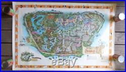 Vintage 1958 Walt Disney's DISNEYLAND USA MAP Theme Park Souvenir POSTER 30 X 45