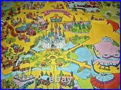 Vintage 1971 Walt Disney World Magic Kingdom Theme Park Original Souvenir Map