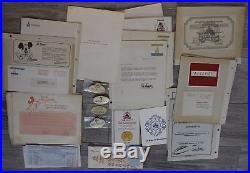 Vintage Disneyland Theme Park Cast Member Employee Lot Badges Tags Papers Disney