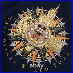 Vintage Navy Blue Walt Disney World Tour Mens Crew CrewNeck Sweatshirt Size XL