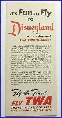 Vtg 1955 Walt Disney DISNEYLAND Fly TWA Pamphlet BROCHURE Theme Park GUIDE Orig