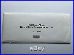 WDW Vintage Disney Tower of Terror Commemorative Ticket 1994 Twilight Zone