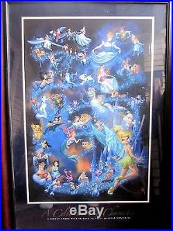 Walt Disney Theme Park Poster A CELEBRATION OF CHARACTER (Size 24x 36) Framed