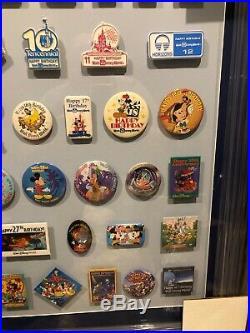 Walt Disney World Anniversary Cast Member Pin Set Framed Year 1 Through 36