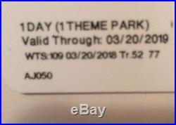 Walt Disney World Resort Peak Ticket One Day 1 Theme Park FREE SHIPPING
