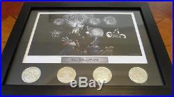 Walt Disney World Theme Park Icons Fab 5 Lithograph & 4 Coin Framed Set Display
