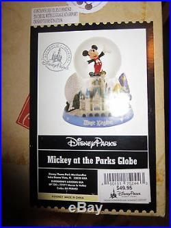 Walt Disney World Theme Park Mickey Mouse Snow Globe Music Box Magic Kingdom EXC